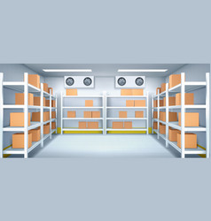 Warehouse interior with carton boxes on racks vector