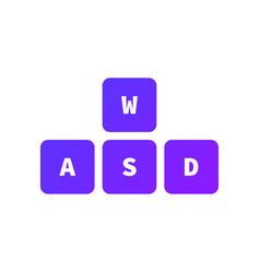 wasd keys game control keyboard buttons gaming vector image