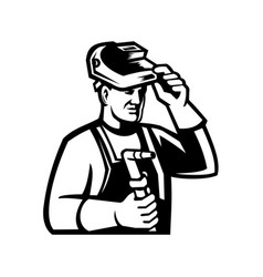 Welder holding welding torch lifting visor mascot vector