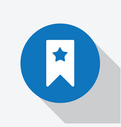 White bookmark icon with star in blue circle vector