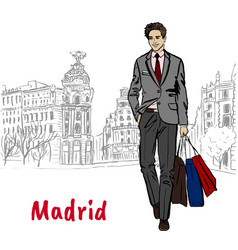 Woman in madrid vector