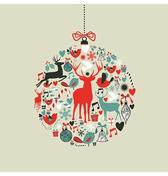 Christmas icons in bauble shape vector image vector image
