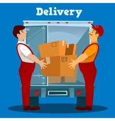 Delivery Van Delivery man with Box Delivery vector image