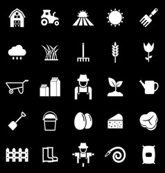 Farming icons on black background vector image