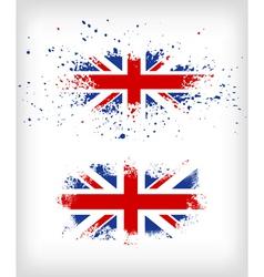 Grunge British ink splattered flag vector image vector image