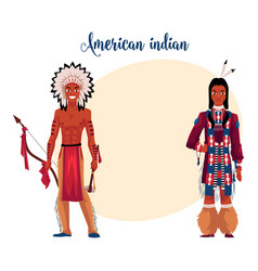 native american indian man shirtless in feather vector image