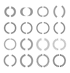 several style of laurel wreath icons set vector image