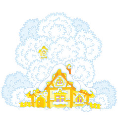 snow-covered small hut vector image vector image