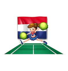 The flag of Netherlands and the young cheerdancer vector image vector image
