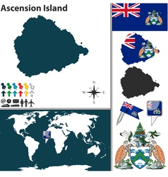Ascension island map world vector image vector image