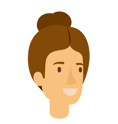 colorful silhouette of woman face with light brown vector image