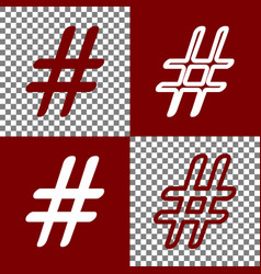 hashtag sign bordo and white vector image vector image