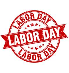 Labor day round grunge ribbon stamp vector