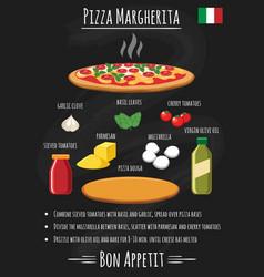 pizza margherita on chalkboard recipe poster vector image