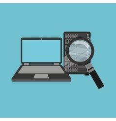 search laptop data server vector image