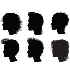 silhouette men hairstyle vector image