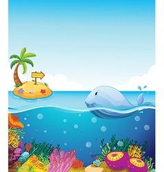 A fish looking at the island with an arrow vector image vector image