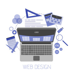 Abstract flat of web design and development vector