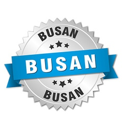 Busan round silver badge with blue ribbon vector image