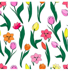 seamless floral pattern with tulips on white vector image vector image