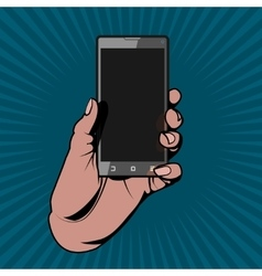The Hand Holding the Smartphone as in a Comic Book vector image vector image