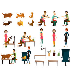barber pet grooming salon flat icon set vector image vector image