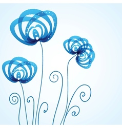 Blue floral background with abstract flowers vector image vector image