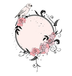 frame with roses and bird vector image
