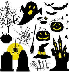 Halloween black and yellow icons set White vector image