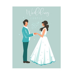 hand drawn abstract cartoon wedding couple vector image