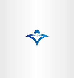man and child protect blue logo icon vector image