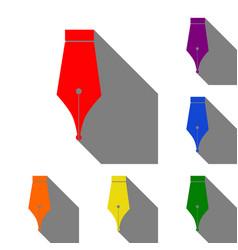 pen sign set of red orange yellow vector image vector image