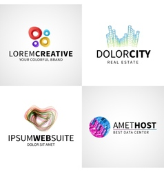 Set of modern colorful abstract creative web host vector image