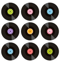 set of vinil records vector image