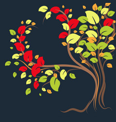 a beautiful lonely tree with colorful leaves in vector image