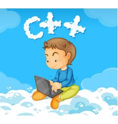 a boy coding c vector image