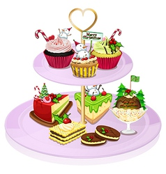A cupcake tray with lots of baked goods vector