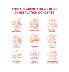 Animal abuse and wildlife conservation red vector