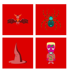 Assembly flat spider witch hat monster bat vector