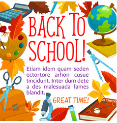 back to school study stationery poster vector image