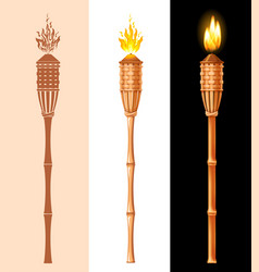 bamboo tiki torch set vector image