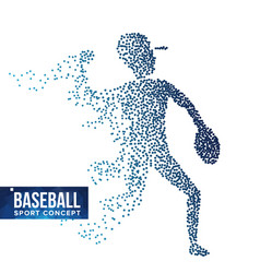 baseball player silhouette grunge halftone vector image