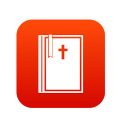 bible icon digital red vector image