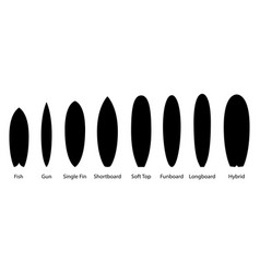 big set black surfboards types vector image