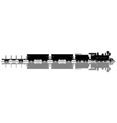 Black silhouette of a wild west steam train vector