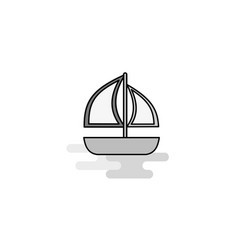 boat web icon flat line filled gray icon vector image
