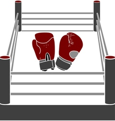 Boxer ring with gloves vector