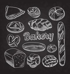 bread bakery food hand drawn doodle blackboard vector image