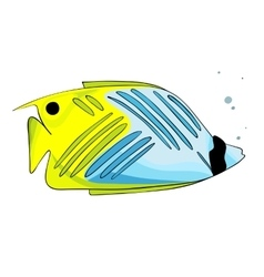 Bright yellow blue colored fish vector
