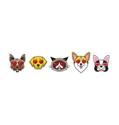 bulldog corgi labrador terrier and cat hearts vector image